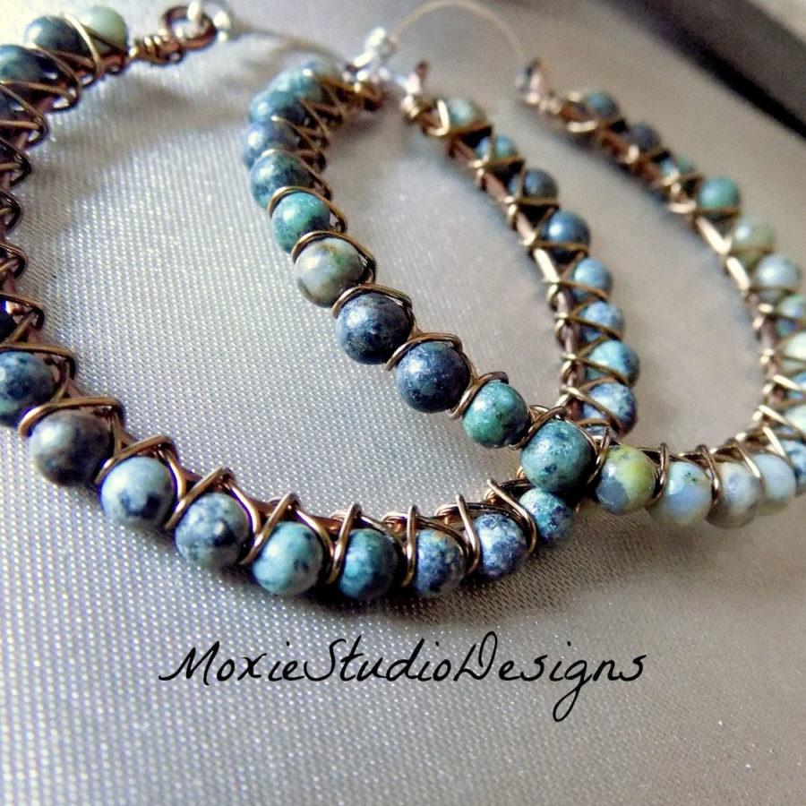 African-Turquoise-Hoop-handmade-Earrings-by-Moxiestudiodesigns-on-etsy