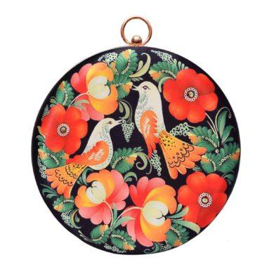 Bird-Round-Frame-Printed-Fabric-Clutch-handmade-etsy