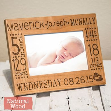 Birth-Announcement-Frame-baby- Picture -New-Parent-handmade-etsy