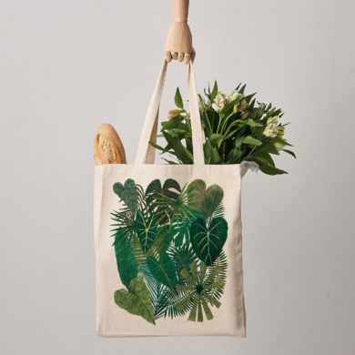 Botanical-Plants-Canvas-shopper-Bag-handmade-esty-shoulder