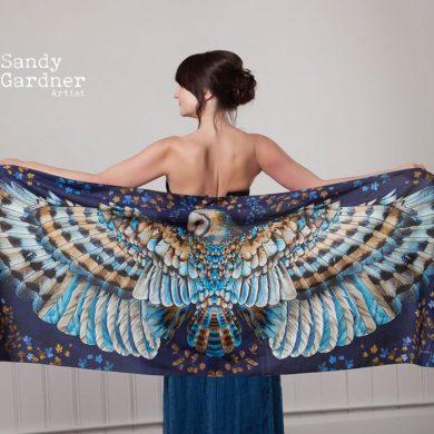 British-Artist-Owl-Silk-Scarf-handmade-etsy