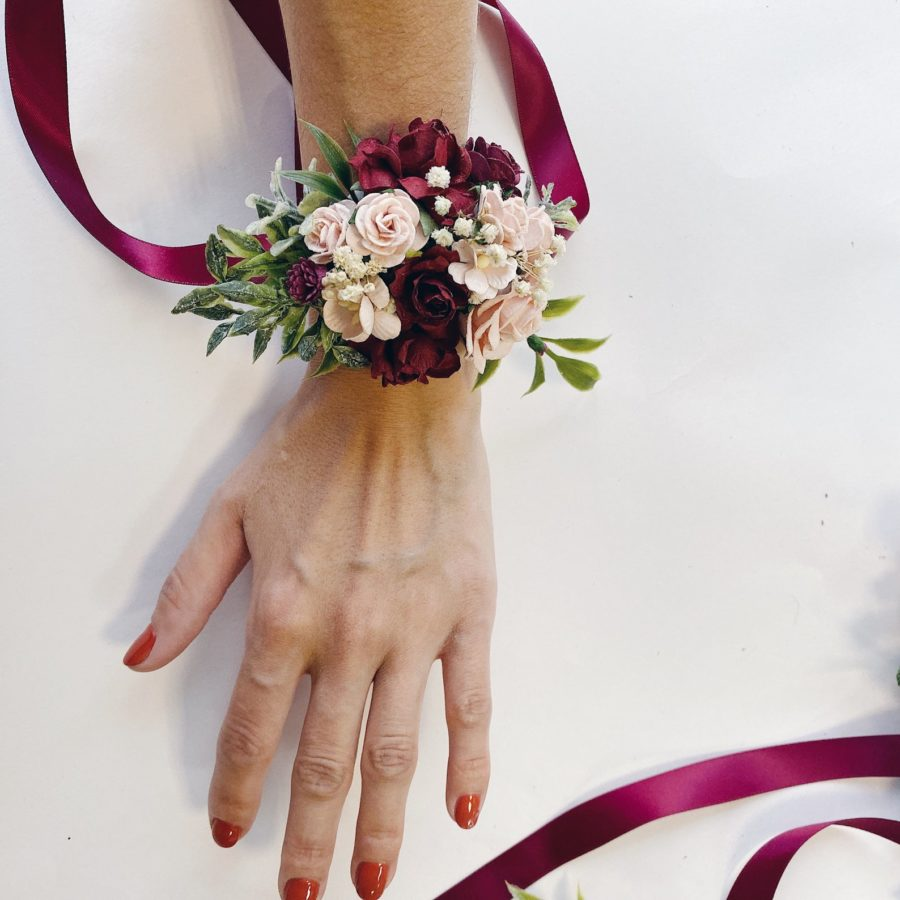 Burgundy Floral wrist corsages-handmade-etsy.