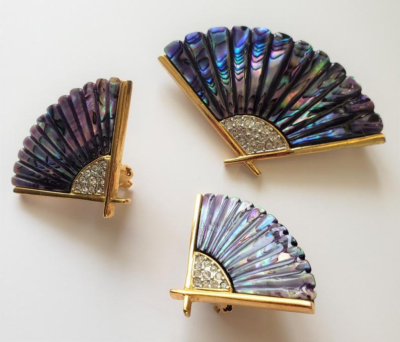 Butler-Abalone-Design-Fan-Earrings-and-Brooch-Set-handmade-etsy