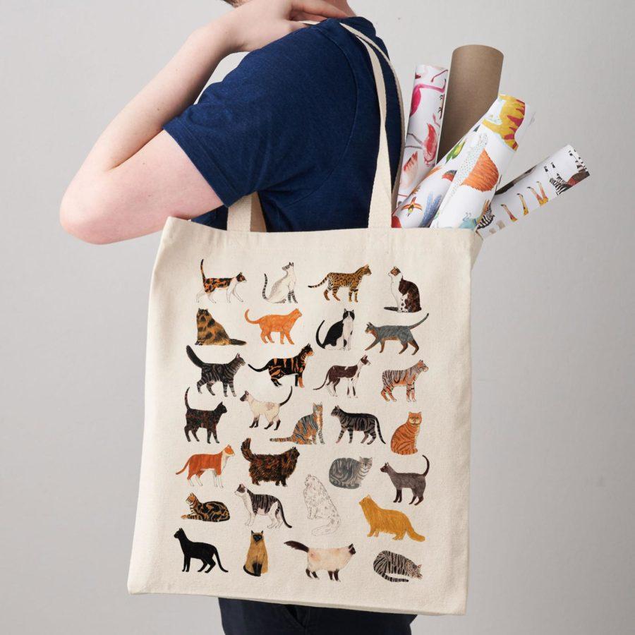 Canvas-Cat-Shopper-Bagshoulder-handmade-esty