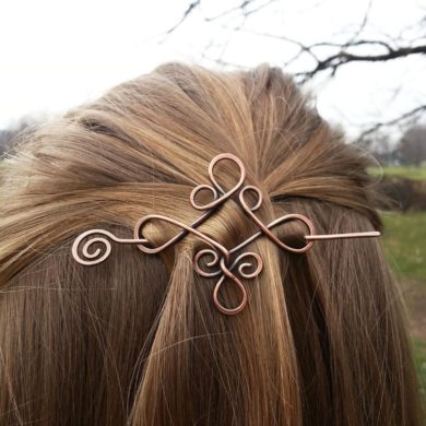 Celticknot-hair-barrette - Rusticshawlpins - Copperhair accessory-Vikings-hair-slide-Metal-pin-jewelry-handmade-etsy