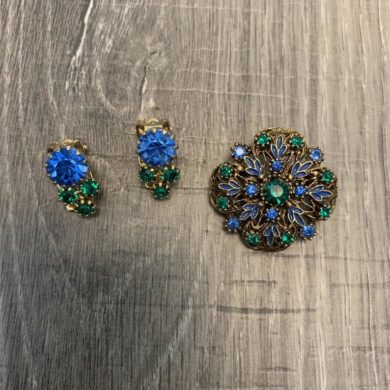 Century-Blue-and-Green-Rhinestone-Brooch-Clip-Earrings-handmade-etsy.