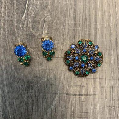 Century-Blue-and-Green-Rhinestone-Brooch-Clip-Earrings-handmade-etsy.