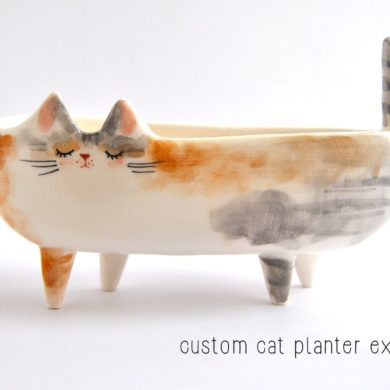 Ceramic-Cat-Planter-pot-Oval-shape-Plants-handmade-etsy