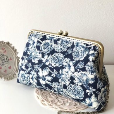 Elegant-Dark-Blue-Rose-HandStitched-Clutch-handmade-etsy