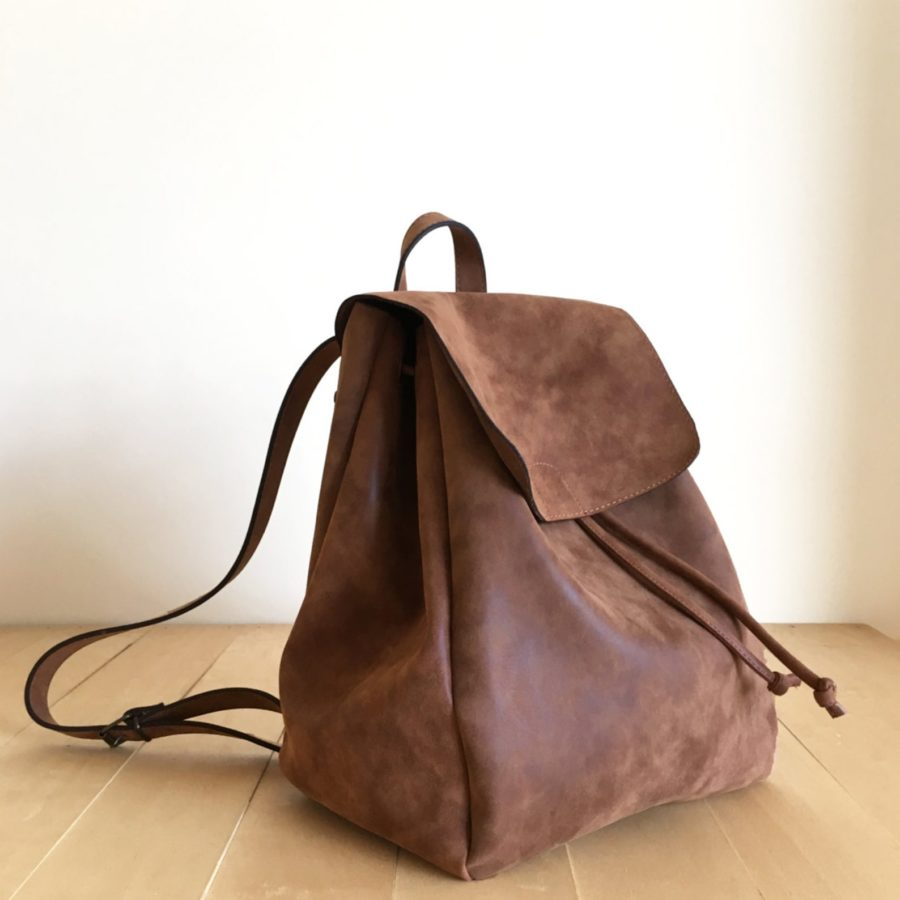 Faux-Leather-Brown-Backpack-Vegan-Water-Resistant-handmade-etsy