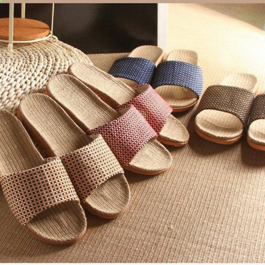 Indoor-Straw-Slippers-handmade-etsy- Beach-Linen