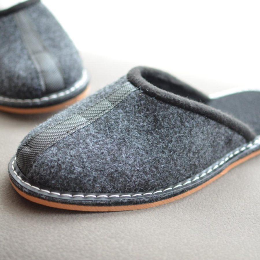 Man-Gray-Felt-Slippers-shoes-indoor-handmase-etsy