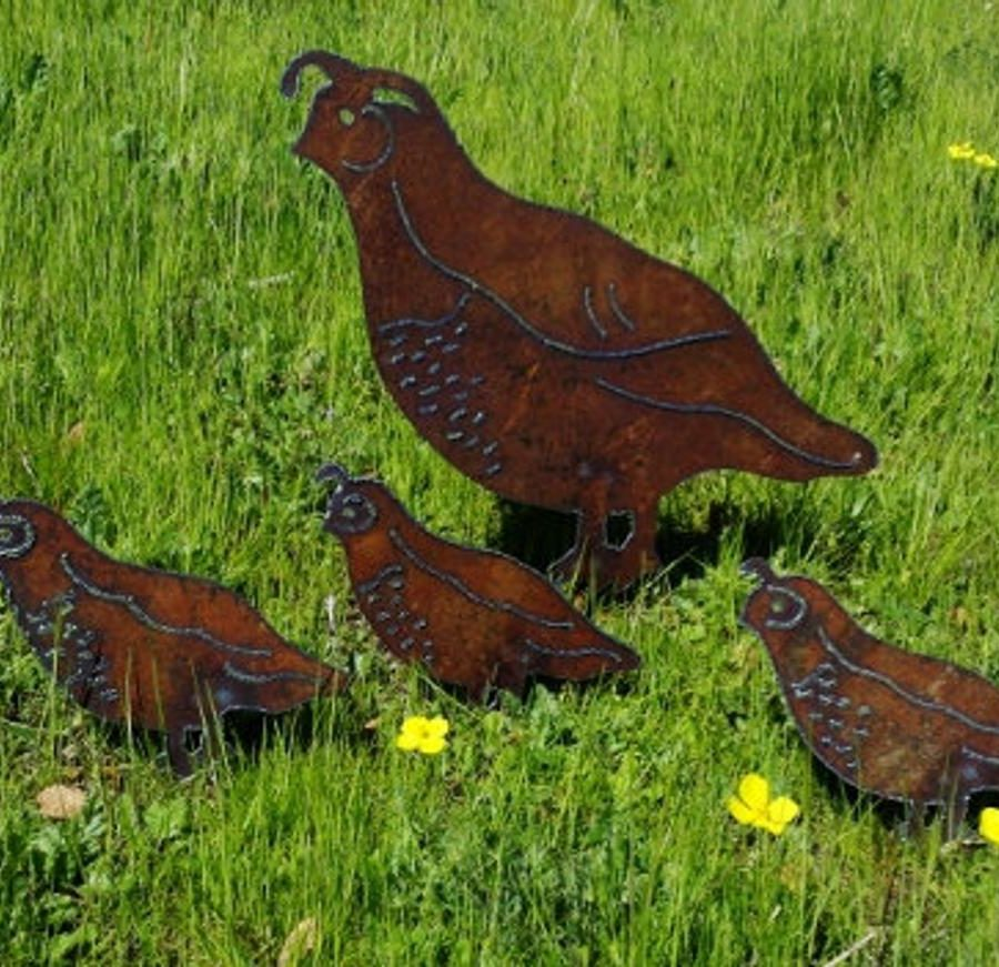 Metal-Quail-Family-Garden-decoration-handmade-etsy