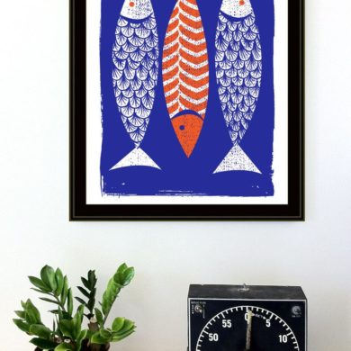 Modern-Art-Screenprint-scandinavian-Style-3Fish-Art-Prin.
