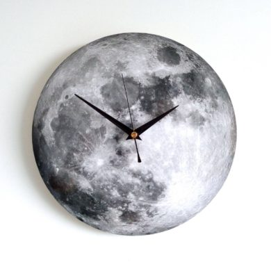 Moon-Wall-Clock-Decoupage-Photo-Black-white-handmade-etsy