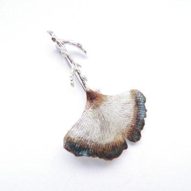 Silver-Brooch-Ginkgo-flamed-handmade-etsy