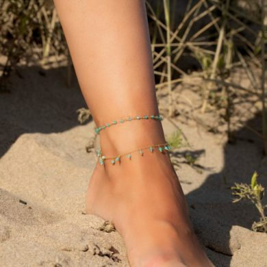 Turquoise-gold-handmade-anklet-by-triumjewelry-on-etsy