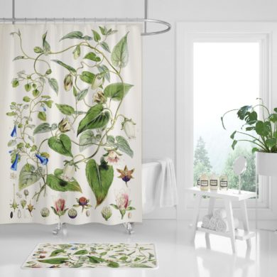 Waterproof-Botanical-Shower-Curtain-Vintage-handmade-etsy