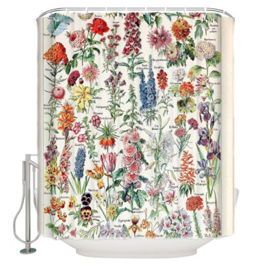 Waterproof-French-Vintage-Botanical-Shower-Curtain-handmade-etsy