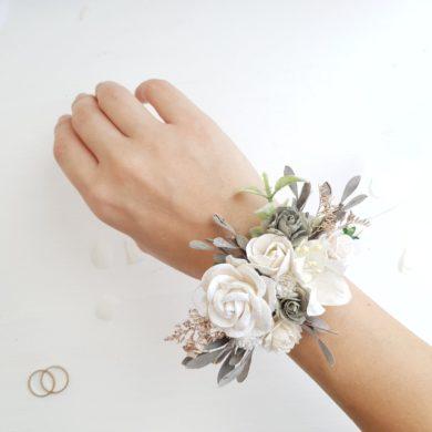 White-flower-wrist-corsage-handmade-etsy