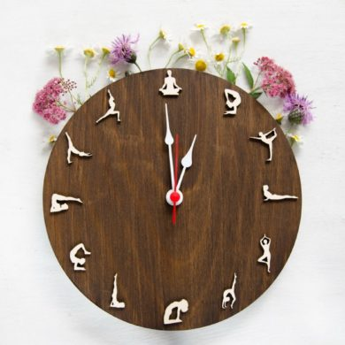 Wooden-Yoga-clock-handmade-etsy-vegan