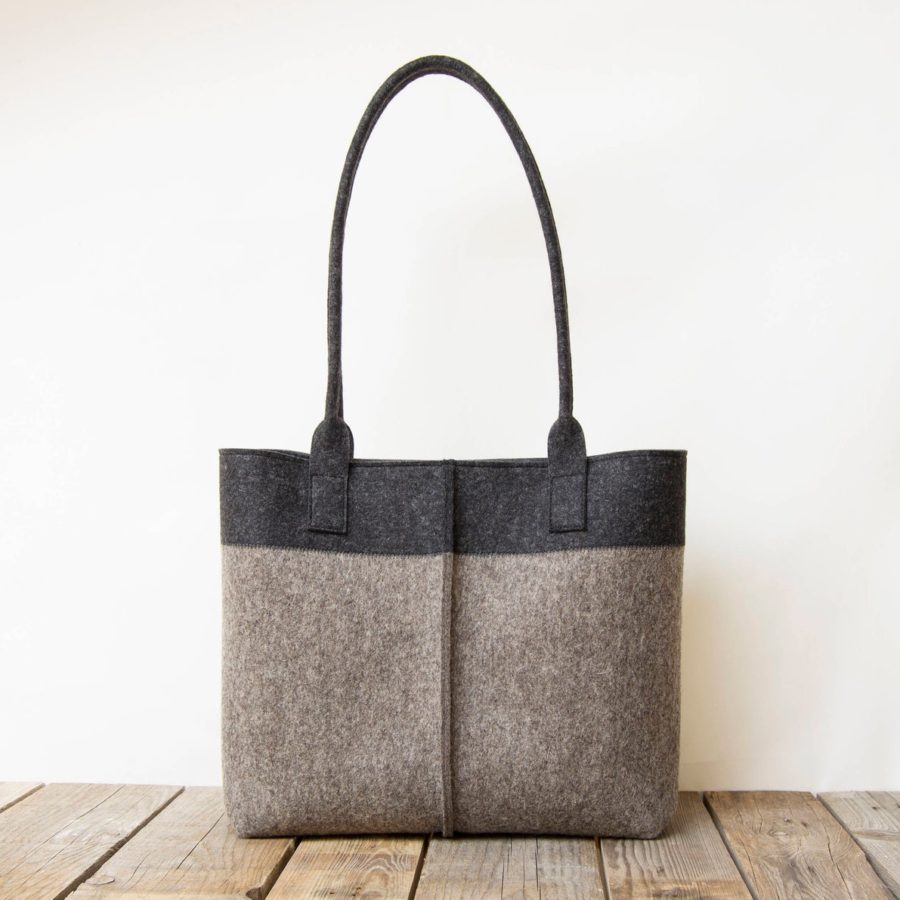 Wool-Felt-TOTE-bag-gray-bicolor-women-charcoal-handmade-etsy